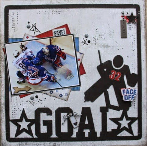 Goal Hockey Scrapbook Page by Carolyn Wolff featuring 17turtles Digital Cut Files