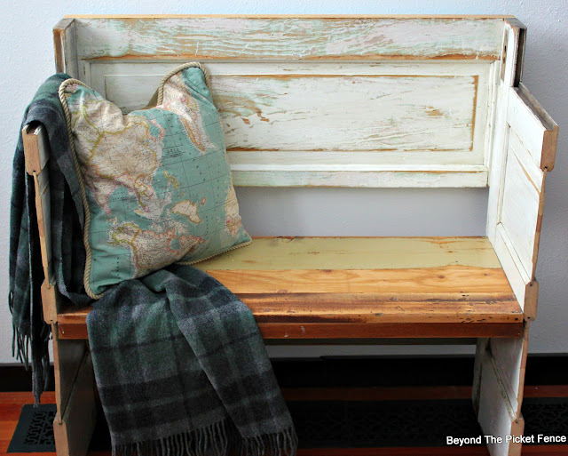 old door, reclaimed wood, bench, salvaged, entryway, wool plaid blanket, Minwax, DIY, http://bec4-beyondthepicketfence.blogspot.com/2016/02/a-door-able-bench.html