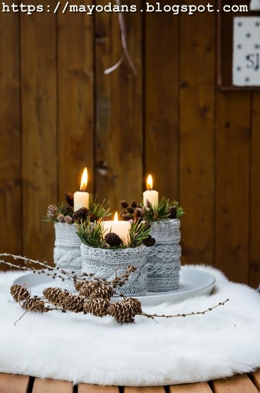 upcycling winterliche kerzenhalter im strickkleid aus. Black Bedroom Furniture Sets. Home Design Ideas