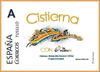 Sello personalizado de la 9ª etapa de la Vuelta ciclista a España Cistierna-Oviedo