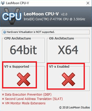hardware virtualization is not supported