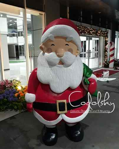 Patung / Sculpture Replika santa clause dari busa gabus styrofoam dekorasi event natal dan tahun baru (Merry Christmas and happy new year)