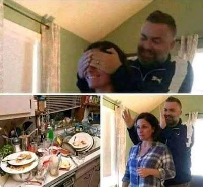 Nach der Party Ehefrau Überraschung Küche schmutziges Geschirr