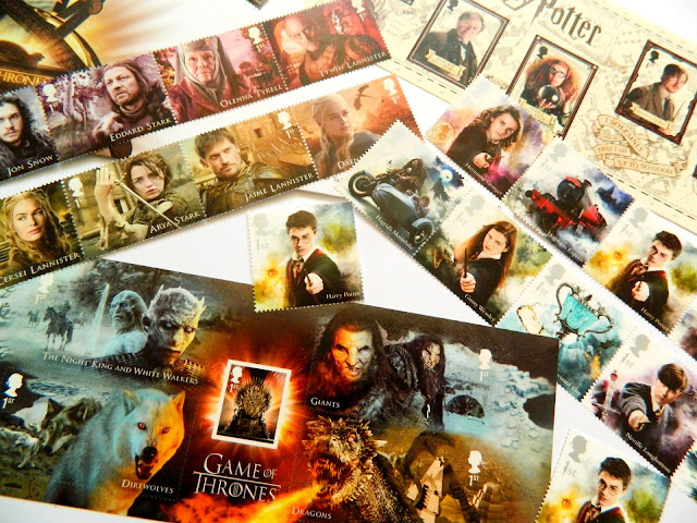 A photo showing a selection of Game of Thrones and Harry Potter picture stamps