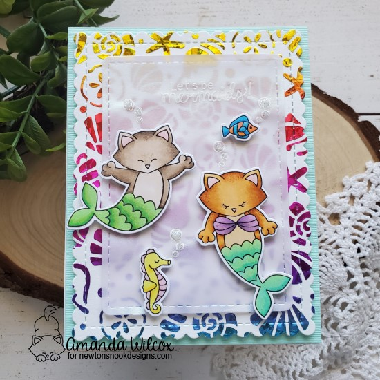 Let's Be Mermaids Card by Amanda Wilcox | Purr-maid Newton Stamp Set, Seashells Stencil and Frames & Flags Die Set by Newton's Nook Designs #newtonsnook #handmade