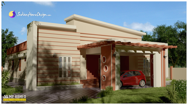 1800 sqft 3 Bedroom Contemporary Indian Home Design