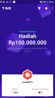 hadiah uang gratis 100 juta rupiah dari aplikasi T-GO Android