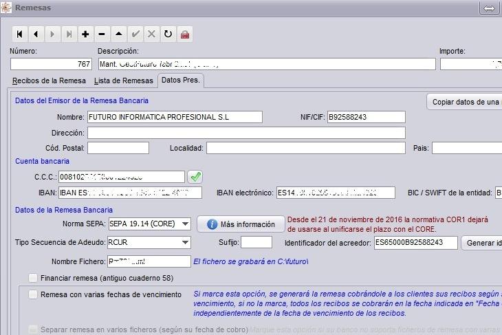 Imagen de la pantalla de remesa en GestFuturo software de gestióm