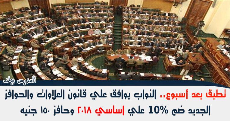 تطبق بعد أسبوع النواب يوافق علي قانون العلاوات والحوافز الجديد ضم 10% علي اساسي 2018 وحافز 150 جنيه