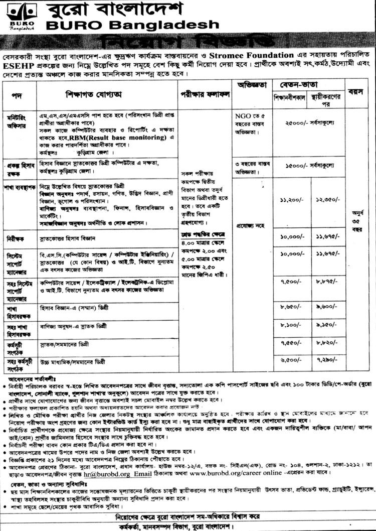 Jobs Barta BURO Bangladesh Post Monitoring Officer  Project Accountant  Br Manager etc