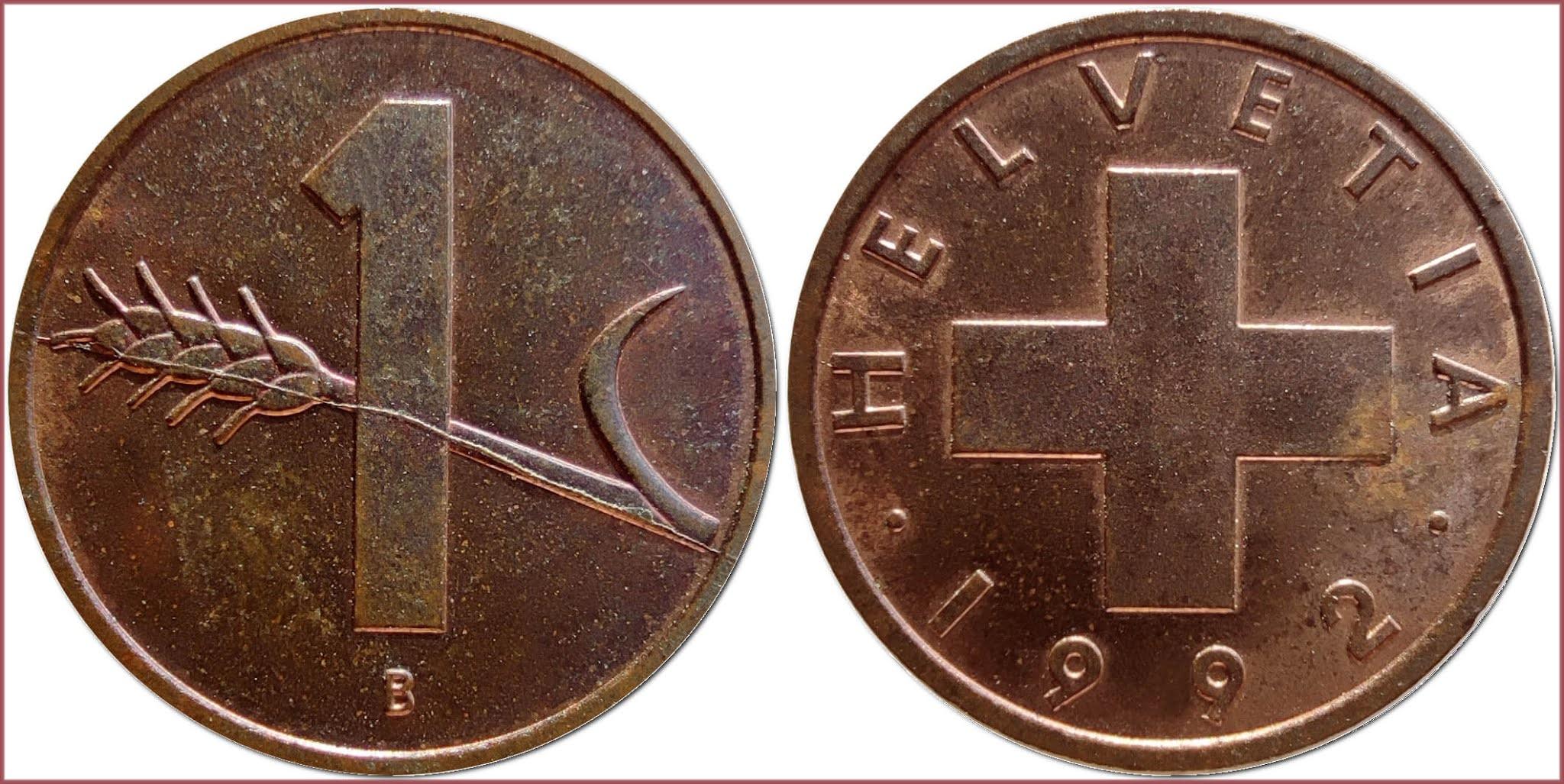 1 rappen, 1992: Swiss Confederation