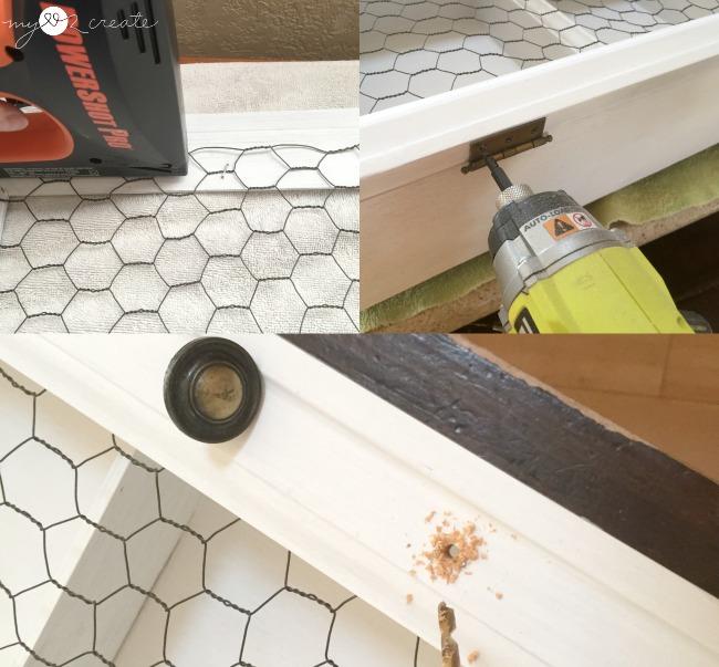 attaching door to cabinet
