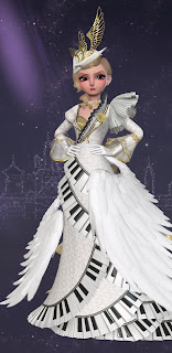 """Christine in her """"Angel of Music"""" gown, an over-the-top white fantasy dress that the Phantom forces her to wear accented with a swirling piano keyboard and white feathered wings"""