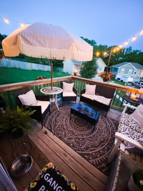 modern eclectic back deck