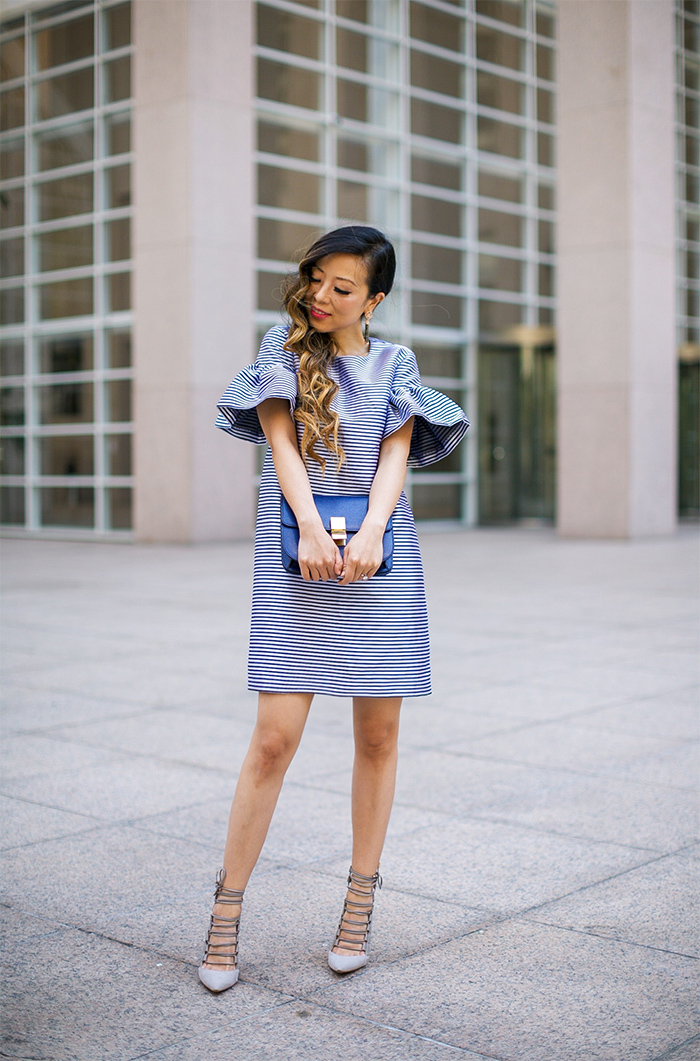 banana republic ruffle dress, celine classic box bag, kendra scott earrings, aquazzura amazon pumps, lace up heels, san francisco fashion blog, san francisco street style