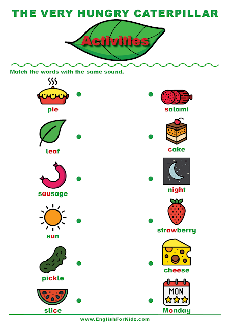 The Very Hungry Caterpillar worksheet to learn English sounds