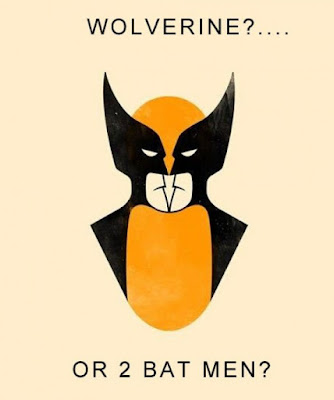 Visual trick image with two copies of Batman facing each other, but overall the image looks like Wolverine.