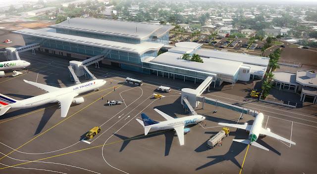 Perspective 3D - vue aérienne de la piste et du terminal
