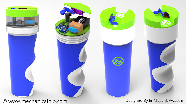 Innovative Design of Smart Water Bottle with automatic cap mechanism (3d printable) - A Major project in Mechanical engineering
