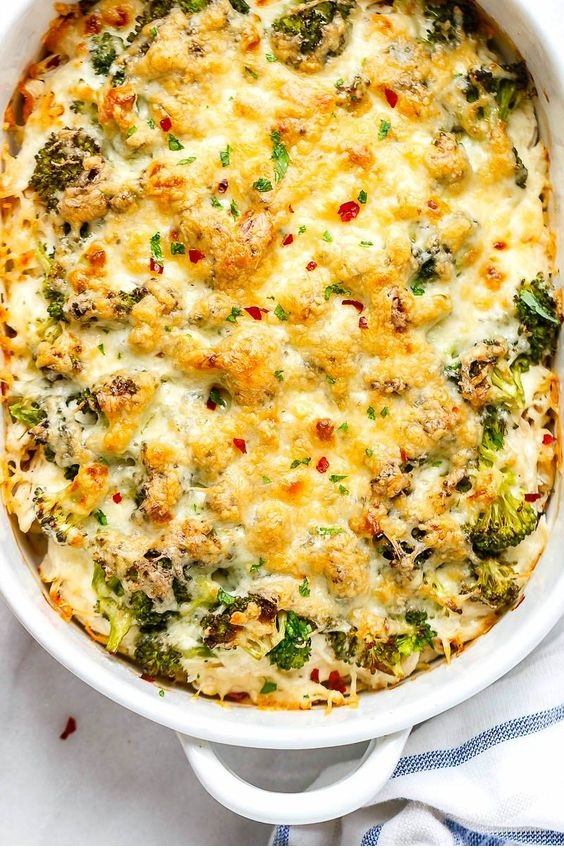 Broccoli Chicken Casserole With Cream Cheese And Mozzarella