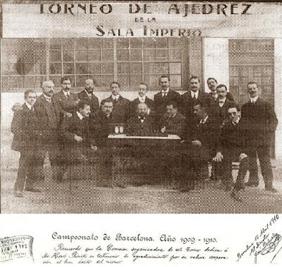 Jugadores y organizadores del Campeonato de Barcelona 1909-1910