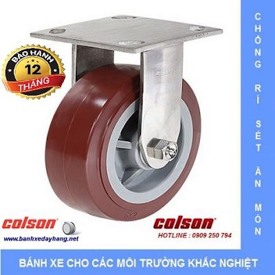 Bánh xe PU càng Inox 304 chịu lực Colson Mỹ tại Bến Tre www.banhxepu.net