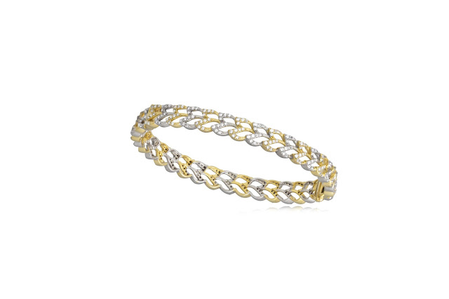 Entice Bangle  set in yellow & white gold with white diamonds  from Wings Collection-