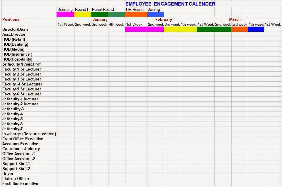 Employee Engagement Calendar Format
