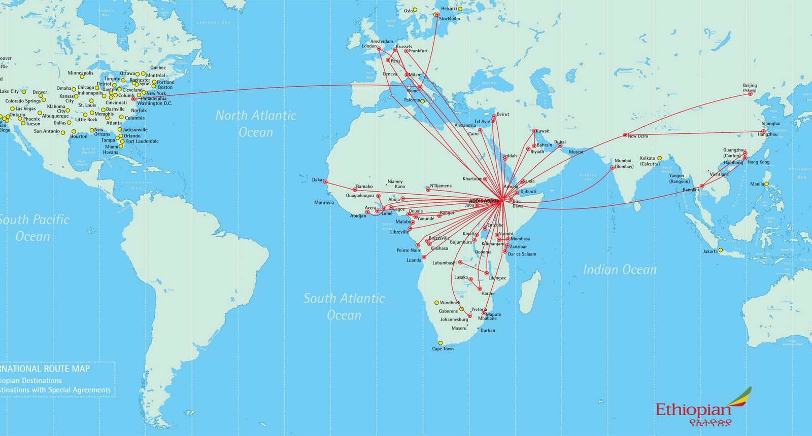 International route Map of Ethiopian Airlines