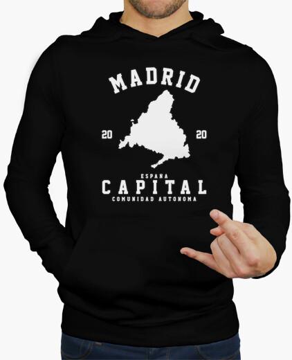 Sudadera para hombre con capucha - Madrid - Diseño en blanco