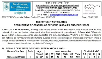 Bank of Maharashtra Recruitment 2021 - Generalist Officers