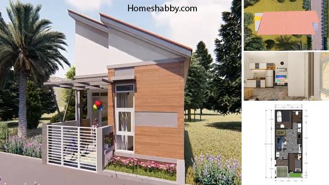 Desain Dan Denah Rumah Minimalis Atap Miring Ukuran 4 X 10 M Dengan 2 Kamar Tidur Dan Mushola Homeshabby Com Design Home Plans Home Decorating And Interior Design