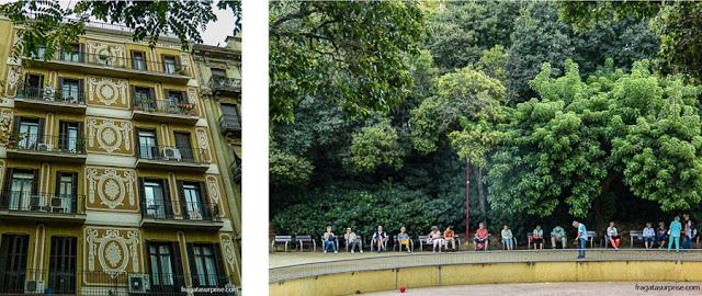 Eixample, Barcelona: uma fachada decorada em esgrafiado e Plaça de Pablo Neruda