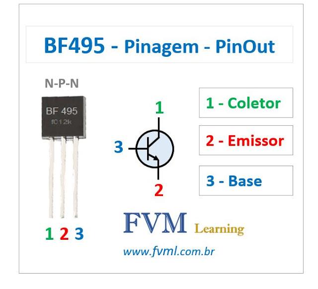 Pinagem - Pinout - Transistor - NPN - BF495 - Características