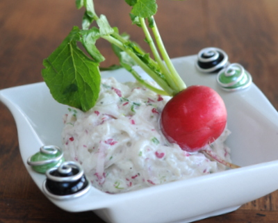 Easy Easy Radish Spread, another simple vegetable starter ♥ AVeggieVenture.com, just radishes, green onion and cream cheese. Creamy with a little bit of radish heat!