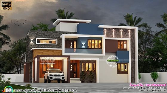 Front elevation of Box model modern home architecture rendering