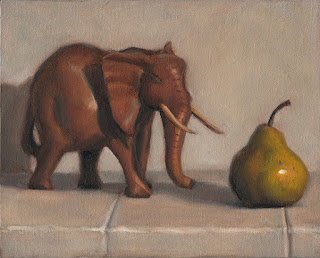 Still life oil painting of a wooden elephant beside a green pear.