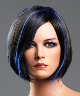 Bayan mavili siyah küt saç peruk