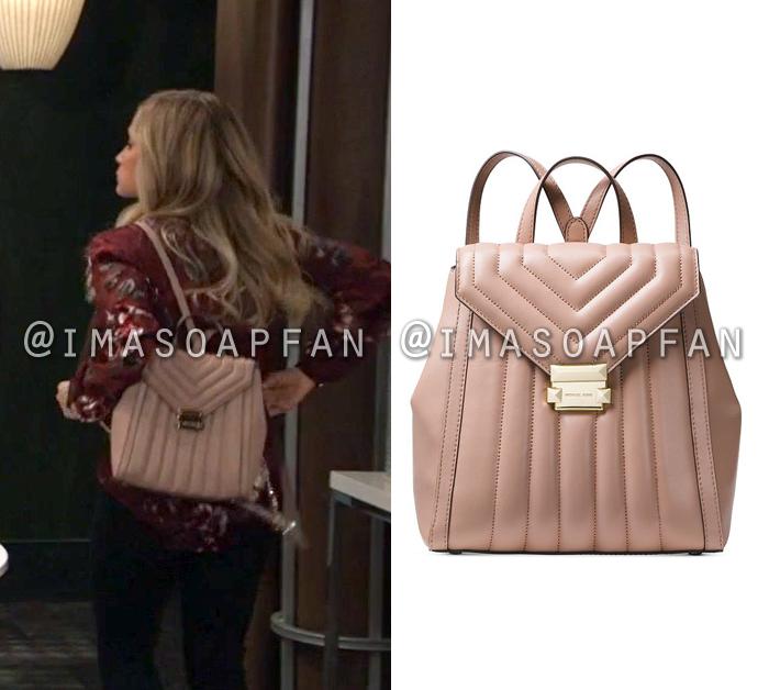 Lulu Spencer Falconeri, Emme Rylan, Quilted Pink Leather Backpack, General Hospital, GH