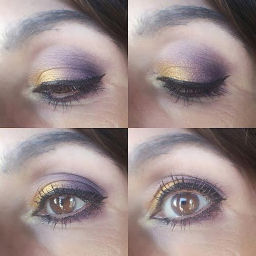 look morado y dorado collage