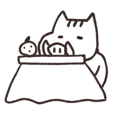 コタツでくつろぐ猪のイラスト(亥年)モノクロ線画