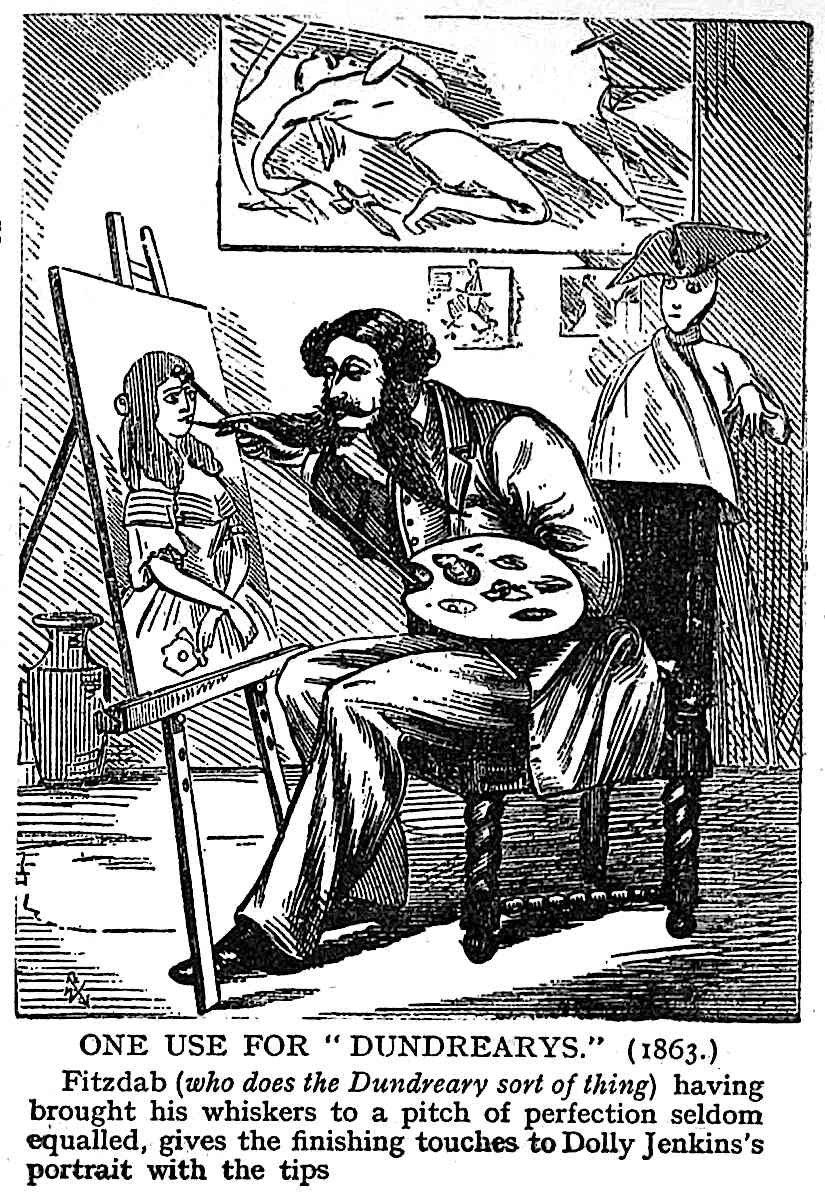 Fred Barnard cartoon 1911, dundrearys, painting with beard whiskers