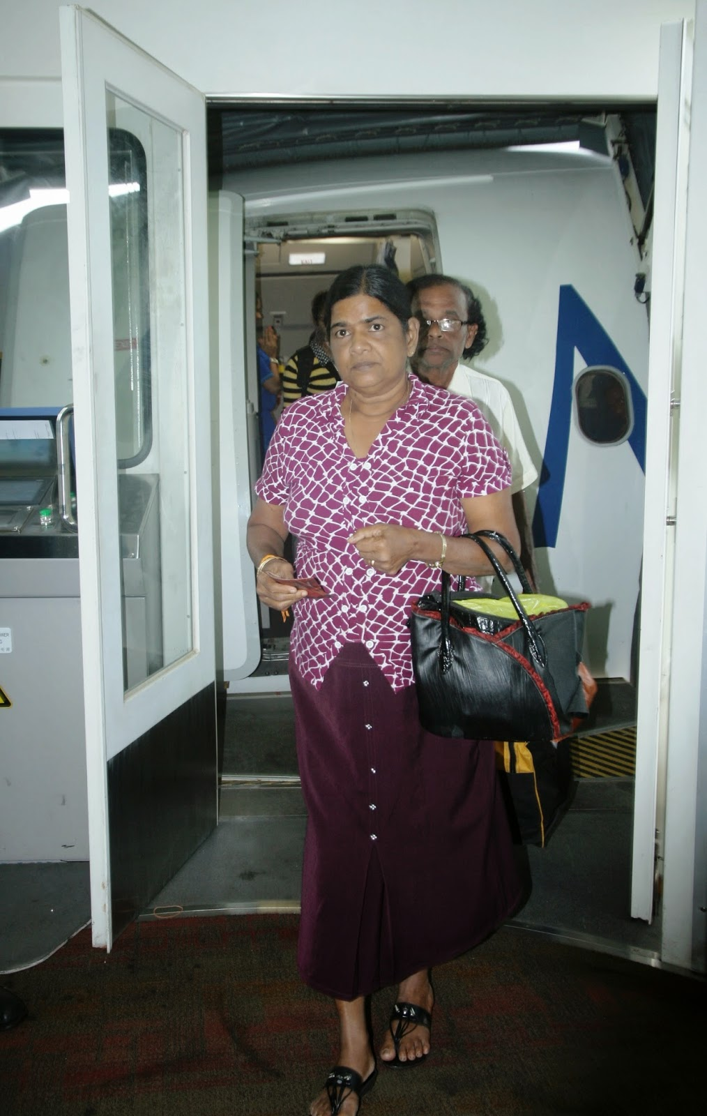 Mihin Lanka passengers on pilgrimage disembarking  at Mattala Rajapaksa International Airport (MRIA) from Varanasi