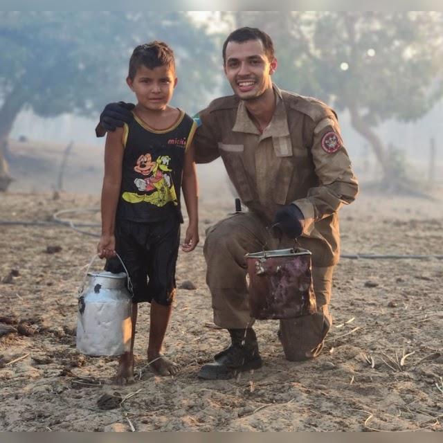 Com balde nas mãos e medo de perder a própria casa, menino de 5 anos oferece ajuda para conter incêndio no Pantanal