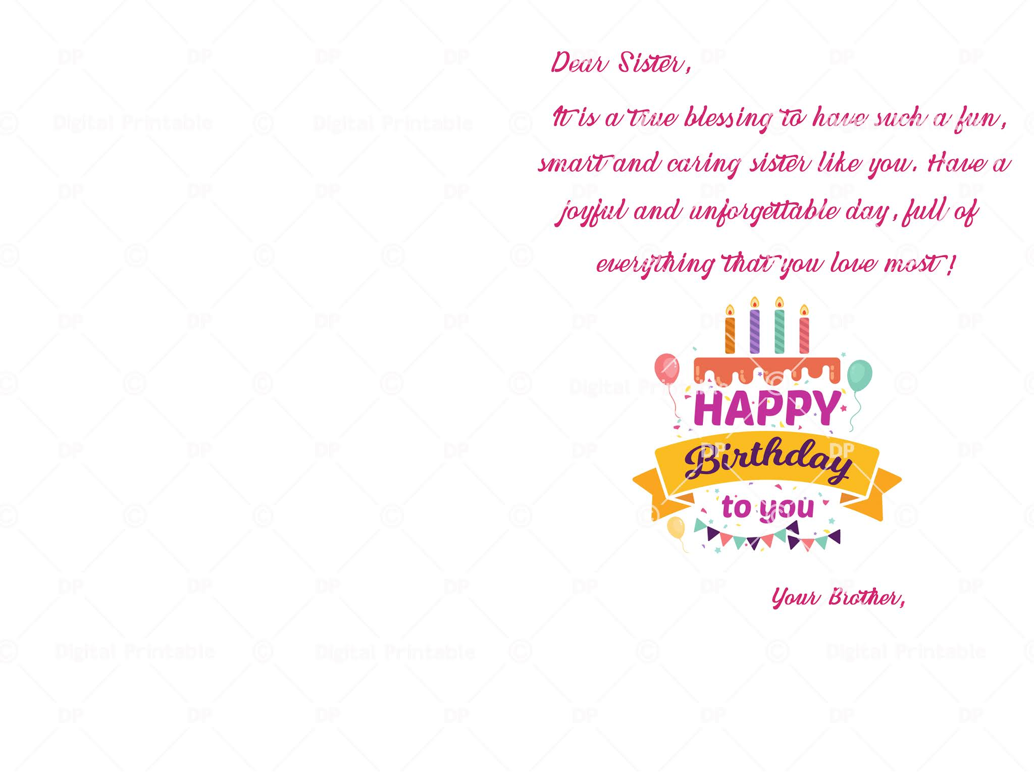 Happy Birthday Sister Card Printable Bday Wishes For Sister