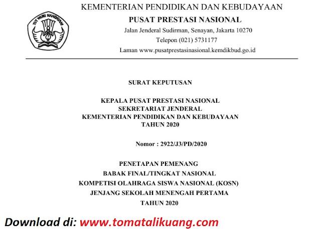 sk pemenang peraih medali emas perak perunggu kosn jenjang smp tingkat nasional tahun 2020 pdf tomatalikuang.com