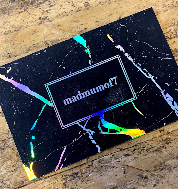 """Aura Print business card, black with holographic pattern and writing """"madmumof7"""""""