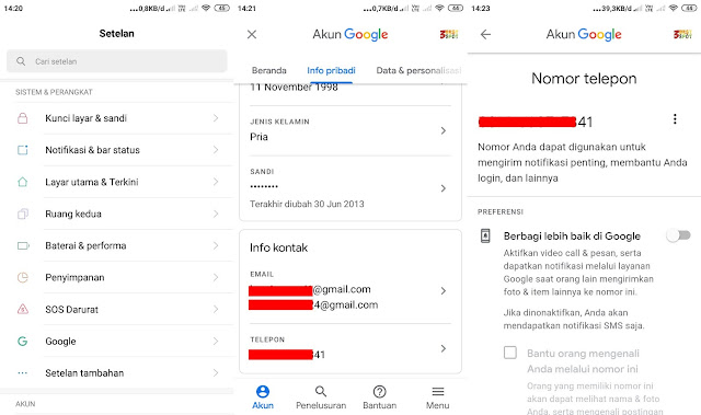 ganti nomor hp gmail lewat android