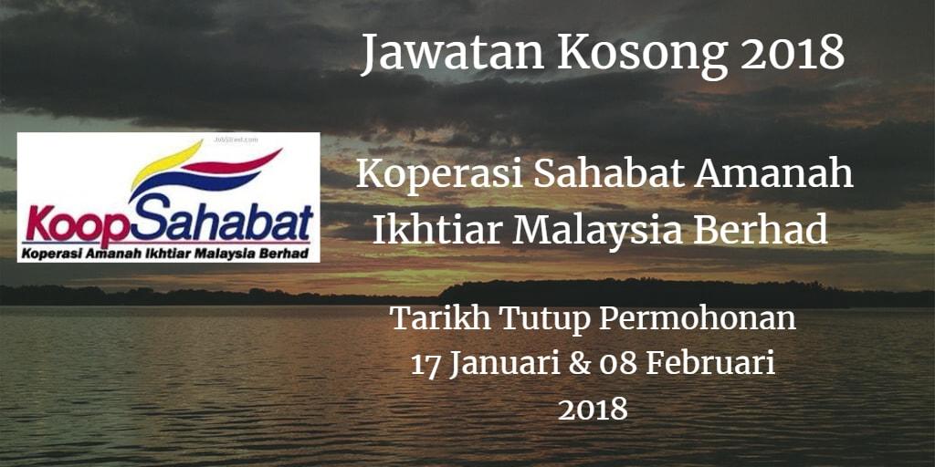 Jawatan Kosong Koperasi Sahabat Amanah Ikhtiar Malaysia Berhad  17 Januari - 08 Februari 2018