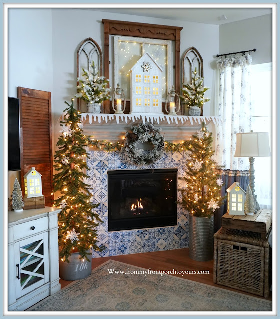 Winter -Fireplace- Mantel -Design-French Farmhouse-Blue & White-Decor-Cottage-Style-Farmhouse-Style-French Country--From My Front Porch To Yours